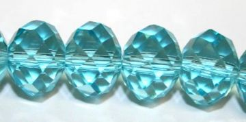 72pcs x 10mm Turquoise blue rondelle faceted glass beads -- S.J -- 3005723
